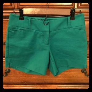 The Limited Emerald Green Tailored Shorts Size 0